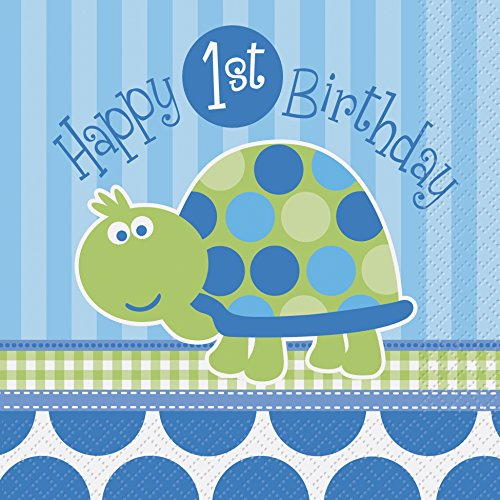 First Birthday Boy Turtle Party Napkins 16 pack / 2 ply