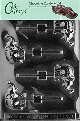 Cybrtrayd A016 Elephant Lolly Chocolate Candy Mold with Exclusive Cybrtrayd Copyrighted Chocolate Molding Instructions