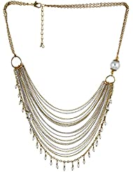 Fashionlodgge Imitation Jewellery Golden & Silver Color Alloy Chain With White Pearl