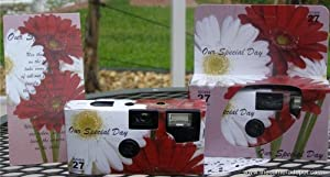 10 Pack Daisy Disposable Wedding Cameras in Matching Gift Boxes with Table Tents, 35mm, 27 Exposures