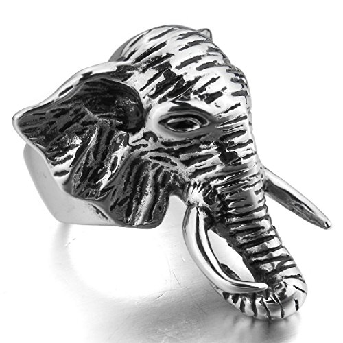 Men'S Large Stainless Steel Ring Silver Black Elephant Punk Rock Biker Size12