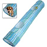 Pecute Portable Exercise Cat Puppy Dog Fun Collapsible Pet Obedience Agility Training Tunnel Striped Cave Chute Tool Rabbit Ferret Play Toys 50.4inch×9.8inch