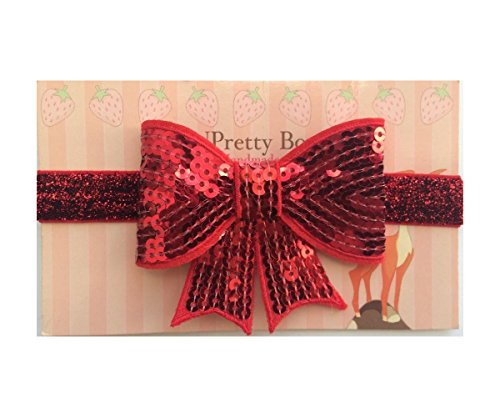 3 Inches Sequin Sparkle Bow Baby Poshnpretty Headband - Red