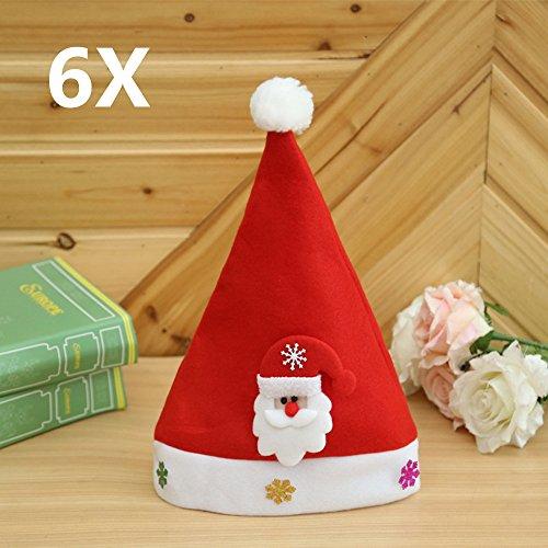6 Cappelli di Natale Wefine® XMAS Babbo Partito Festivo Famiglia Cappelli I regali per Bambini & Adulti Decorazioni Giardino Ornamento -- Adulti Babbo Natale *6
