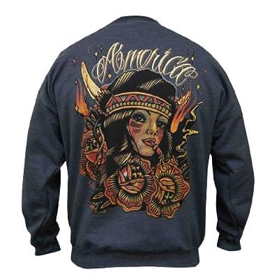 Mens America Johnny Gargan Native American Tribal Tattoo Pullover