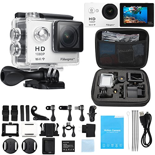 Sports Camera, Vikeepro 2.0 Inch 170 Degree Ultra-wide Angle Lens Full HD 1080p 12MP 98-Feet(30-meter) Waterproof Sports Diving Camera WiFi Remote Control Helmet Action Camera with Extra Battery