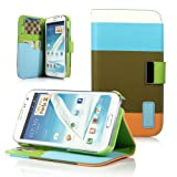 ATC Samsung Galaxy Note 2 / N7100 Leather Wallet Case (Blue+Brown+Orange)