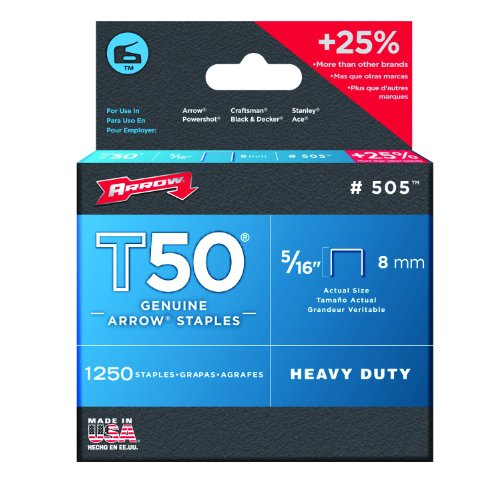 Arrow 505 Genuine T50 5/16-Inch Staples, 1,250-Pack