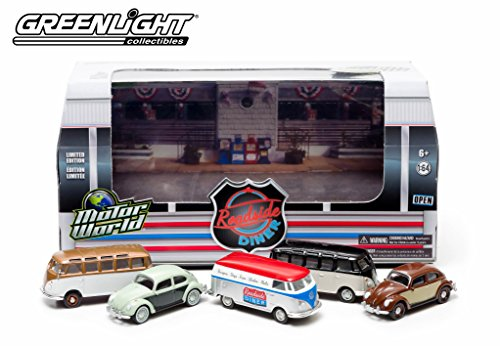 '60's Roadside Diner Motor World Diorama 2014 Greenlight Collectibles 1:64 Scale Limited Edition Die-Cast 5 Vehicle Set (Includes Volkswagen Panel Van, 2 VW Type 2 Samba Bus & 2 VW Classic Beetle Vehicles)