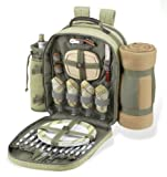 Ultimate Picnic Backpack for 4 (Green Tweed/Olive, Tan Blkt )
