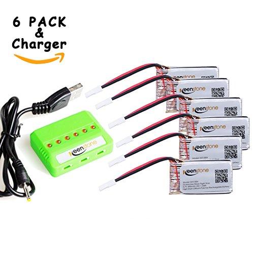6-Stk-Keenstone-37V-400mAh-25C-LiPO-Batterie-mit-6-Port-Ladegert-fr-Hubsan-X4-H107-H107C-H107D-H107L-V252-JXD385-F180C-4-Kanal-24GHz-RC-QuadCopter-Kompatibel-mit-Walkera-Super-CP-Mini-CP-Genius-CP