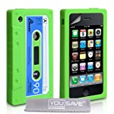 Green Blue And White Retro Cassette Tape Silicone Gel Case Cover For The Apple iPhone 3 / 3G / 3GS With Screen Protector Filmby Yousave