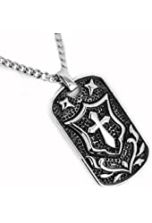 "Stainless Steel Antique Cross Dog Tag with Shield Design 24"" Curb Chain"