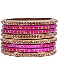 Dulari Stone Embellished Pink Lac Round Bangles For Women (Set Of 8 Bangles)