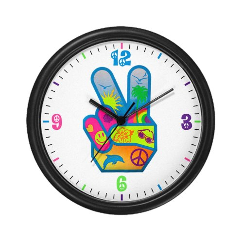 Wall Clock Peace Sign Hand Symbol Dolphin Smiley Face