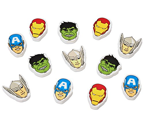 Marvel Avengers Party Accessories, Erasers, 12 Count, Party Supplies