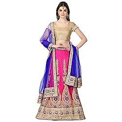 Janasya Womens Polyester Embroidered Lehenga (JNE0407_Pink)