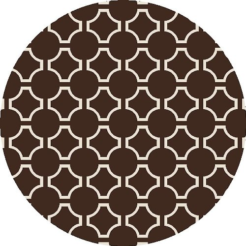 Jill Rosenwald By Surya Fallon Fal-1019 Flatweave Hand Woven 100% Wool Dark Chocolate 8' Round Global Area Rug front-235682
