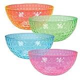 Plastic Serving Bowls - 96 oz Contoured Party Salad Snack Bowl in 4 Neon Colors, Set of 4 Bowls - DuraHome™