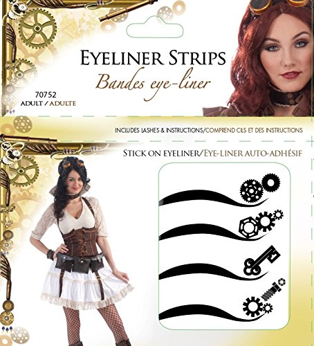 Forum Novelties Women's Steampunk Adhesive Eyeliner Strips Kit, Multi, One Size - 1