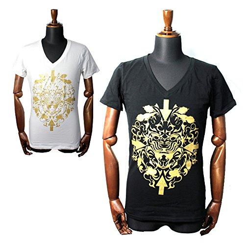 (ドレスキャンプ)DRESSCAMP Gold Lion Tシャツ カットソー TEE メンズ 半袖 (M, WHT)