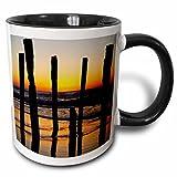 Danita Delimont - Beaches - Old Pier Piles, St Clair Beach, South Island, New Zealand-AU02 DWA4594 - David Wall - 11oz Two-Tone Black Mug (mug_70136_4)