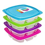Happy Lunchboxes - Large 4-compartment Leak Proof Bento Lunch Box Containers for Adults - Set of 4