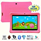 Contixo 7 Inch Quad Core Android 4.4 Kids Tablet, HD Display 1024x600, 1GB RAM, 8GB Storage, Dual Cameras, Bluetooth, Wi-Fi, Kids Place App & Google Play Store Pre-installed, 2015 July Edition, Kid-Proof Case (Pink)
