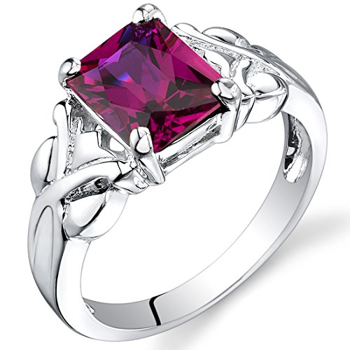 ruby 3.00 carats Radiant Cut Created Ruby Ring in Sterling Silver Rhodium Nickel Finish Size 5 to 9