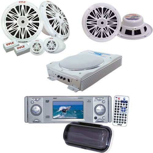 Pyle Marine Radio Receiver, Speaker And Amplified Subwoofer System Package - Pldmr3U In-Dash Marine Cd/Dvd Receiver With 3'' Built In Monitor - Plmr62 200 Watts 6.5'' 2 Way White Marine Speakers - Plmr6K 200 Watts 6.5'' 2-Way Marine Component System - Plm