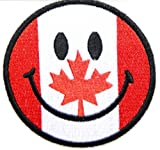 Smile Happy Face Mapel Leaf Canada Canadian Flag Shield Team Biker Club Uniform flag patch Sew Iron on Embroidered