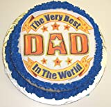 "Best Dad Hazelnut Decorated Cake Single Layer 8"" Round Orange Trim"