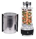 Elektrischer Tisch-Grill für Schaschlik und Gyros, Dreh-Grill 1000 Watt mit Schutzgitter inklusive 5 Spieße, vertikaler Kebab-Grill
