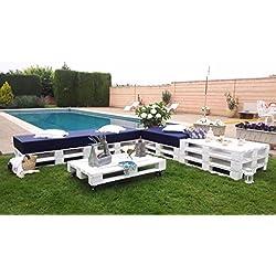 Chillout modular palets para terraza y jardín Europalet. Color blanco