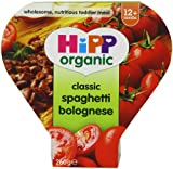 HiPP Organic Stages 3 and 4 12+ Months Growing up Meal Classic Spaghetti Bolognese 4 x 260 g (Pack of 2, Total 8 Pots)