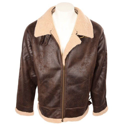 Fletcher & Lowe Men's Chocolate Faux Sheepskin Aviator Jacket in Size XXXLarge