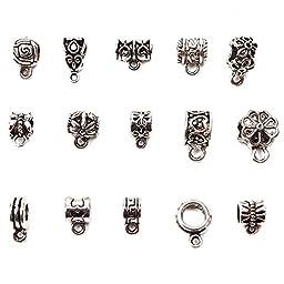 Mix Tibetan Silver Connectors Bails Beads Fit Charm European Bracelet Pendant 90 Pcs (5mm)
