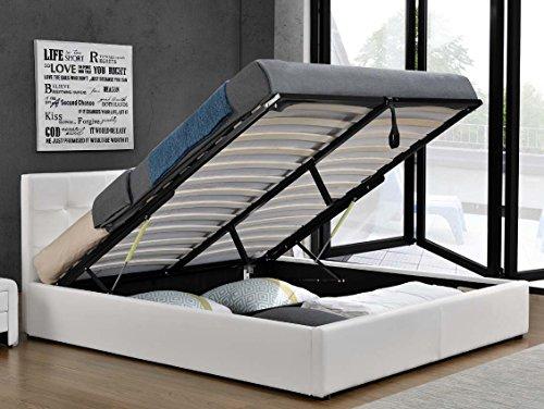 Doppelbett-Bettkasten-Klappbett-Polsterbett-Bettgestell-Bett-Lattenrost-Kunstleder-180x200cm-Wei