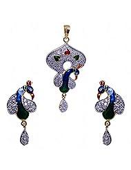Alluring Cubic Zircon Studded Pendant & Earrings Set With Enamel Work