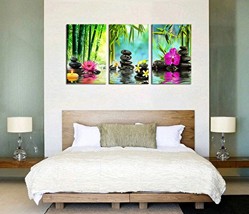 X Large Canvas Prints Zen Wall Art   SPA Black Stone Green Bamboo Pink  Waterlily And Frangipani Painting Print On Canvas Framed Ready To Hang 3  Panel Modern ...