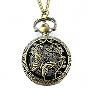 Youyoupifa Retro Design Bronze Butterfly and Flower Openwork Cover Pocket Quartz Watch NBW0PA7101-CO3