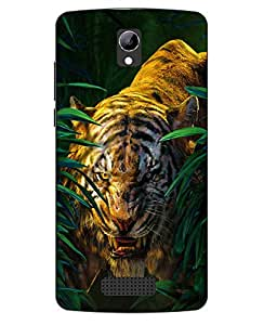 Case Cover Tiger Printed Green Soft Back Cover For LYF WIND 3