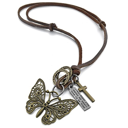 Men'S Large Alloy Genuine Leather Pendant Necklace Gold Brown Butterfly Cross Rings Vintage 16~26 Inch Chain
