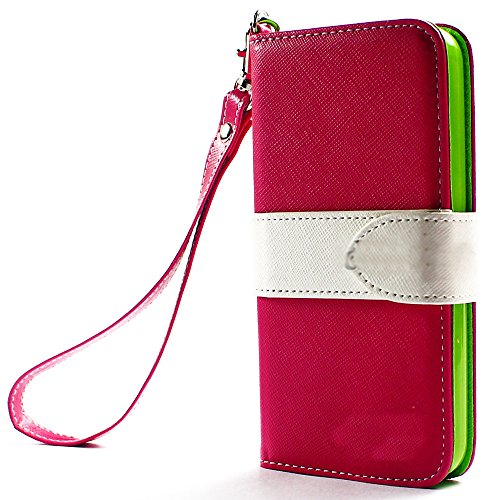 Mylife (Tm) Hot Pink And White Strap Luxury Design - Textured Koskin Faux Leather (Card And Id Holder + Magnetic Detachable Closing) Slim Wallet For Iphone 5/5S (5G) 5Th Generation Itouch Smartphone By Apple (External Rugged Synthetic Leather With Magneti