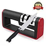 Kitchen Knife Sharpener,Areson 3-Stage Sharpening System Kitchen Knife Sharpener Handheld Sharpening Tool Helps Repair,Restore and Polish Blades (Color: black,red)