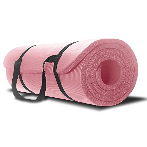 Yoga Mat - Best Premium Thick Exercise Mat - Great for Aerobic and Pilates - Use At Home and Gym - With Strap Carrier - For Man and Woman - No Hassle 1 Year Guarantee, Pink (Thick Yoga Mat 1 Inch compare prices)