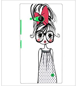PrintDhaba Girl with Specs D-2319 Back Case Cover for NOKIA LUMIA 730 (Multi-Coloured)