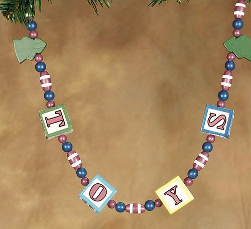 6' Vintage Wooden Toy Block Beaded Christmas Garland #252466