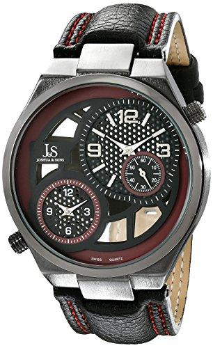Joshua & Sons Reloj con movimiento cuarzo suizo JS83RD Negro 48  mm
