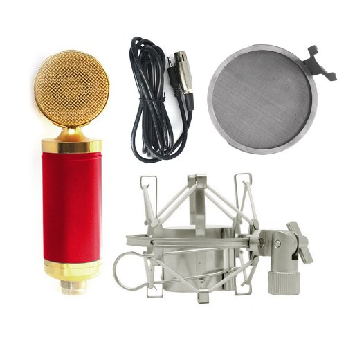 Hot Red M6 Pro Broadcast Recoding Condenser Microphone Set Mic+ Metal Shockmount+ Pop Filter